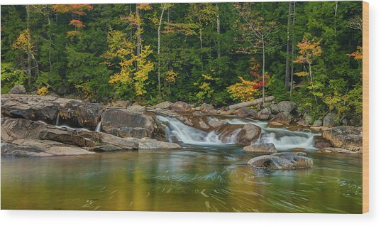 Fall Foliage In Autumn Along Swift River In New Hampshire Wood Print
