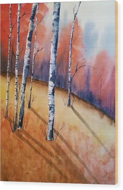 Fall In The Birches Wood Print