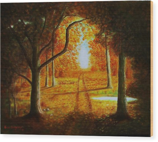 Fall In The Woods Wood Print