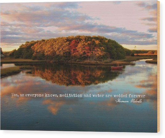 Fall In Wellfleet Quote Wood Print by JAMART Photography