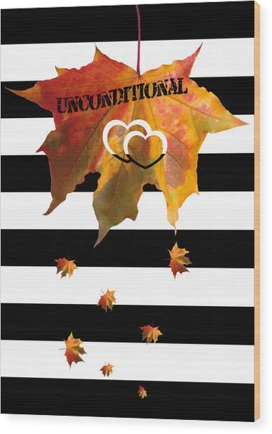 Fall Leaf Love Typography On Black And White Stripes Wood Print