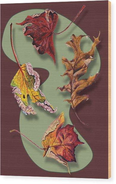 Fall Leaves Card Wood Print
