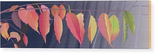 Fall Leaves Wood Print by Marian Federspiel
