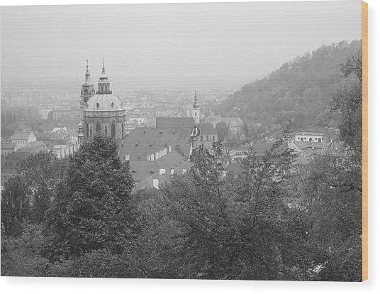 Fall Mist Surrounds St. Nicholas Church In Prague Wood Print by John Julio