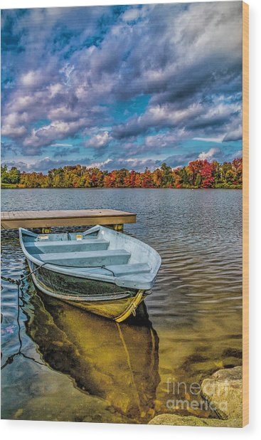 Fall On Alloway Lake Wood Print
