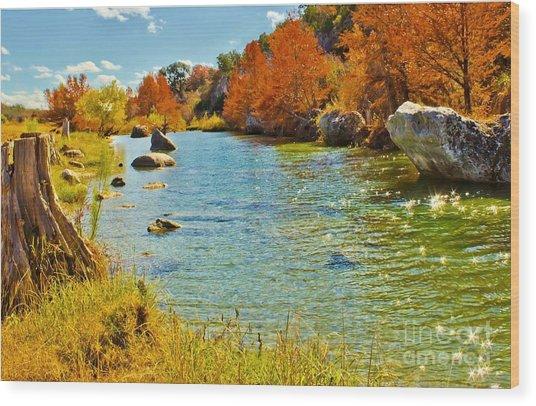 Fall On The Medina River Wood Print