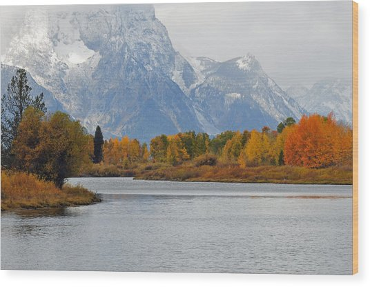 Fall On The Snake River In The Grand Tetons Wood Print