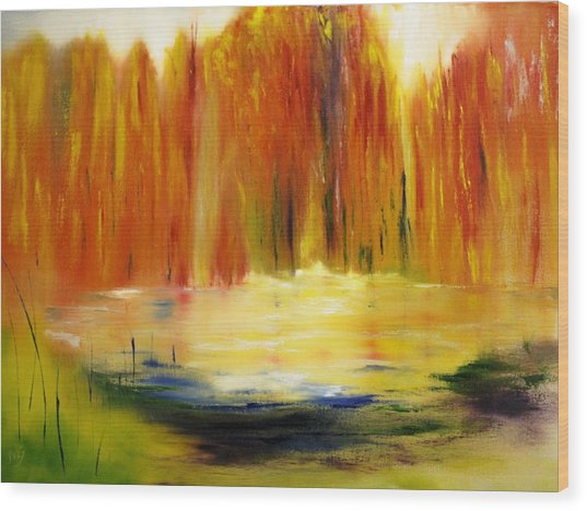 Fall Pond Wood Print by Larry Ney  II
