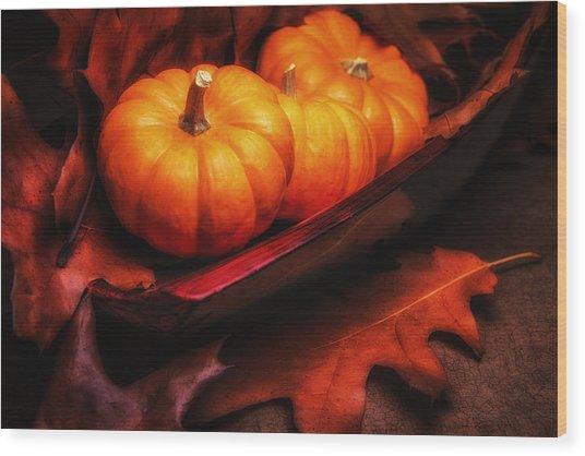 Fall Pumpkins Still Life Wood Print