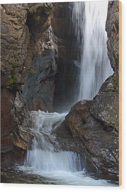 Fall River Road Waterfall Wood Print