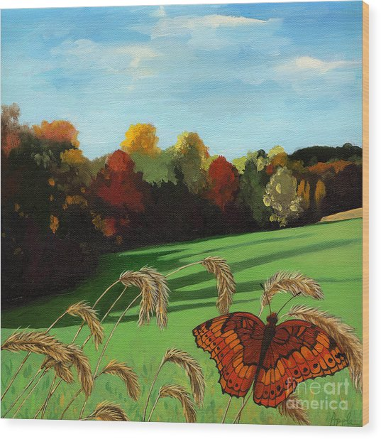 Fall Scene Of Ohio Nature Painting Wood Print by Linda Apple