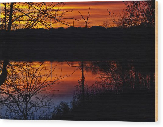 Fall Sunset Wood Print