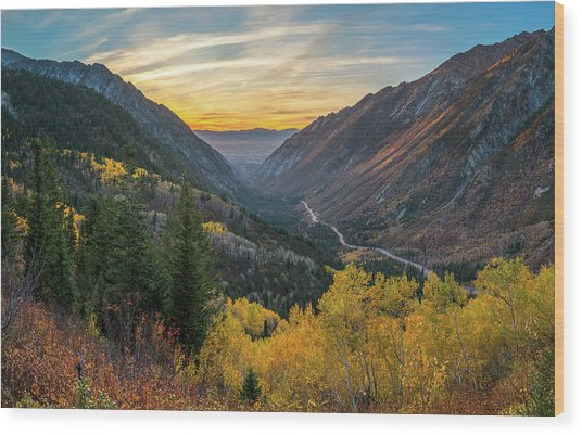 Fall Sunset In Little Cottonwood Canyon Wood Print