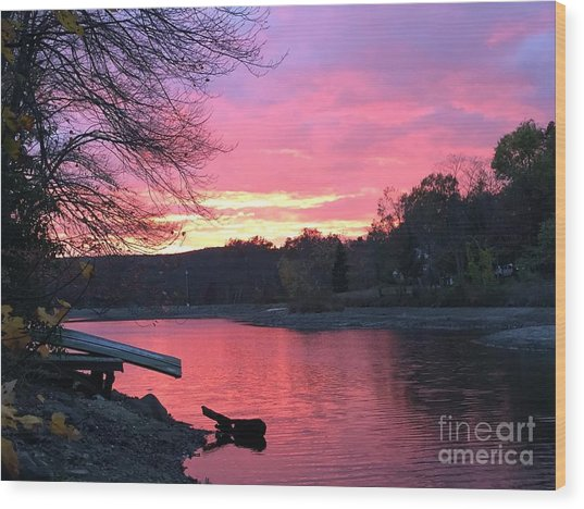 Fall Sunset On The Lake Wood Print