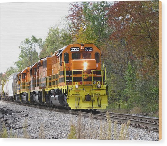 Fall Train In Color Wood Print