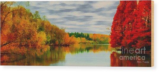 Fall Water Painterly Rendering Wood Print