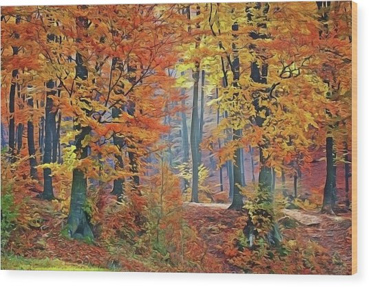 Fall Woods Wood Print