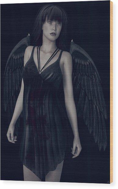 Fallen Angel - Dark And Gothic Wood Print