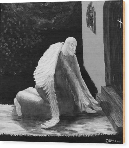 Fallen Angel Noir  Wood Print