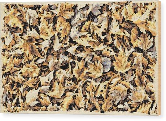 Fallen Autumn Leaves Wood Print