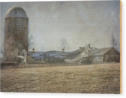 Fallen Barn  Wood Print