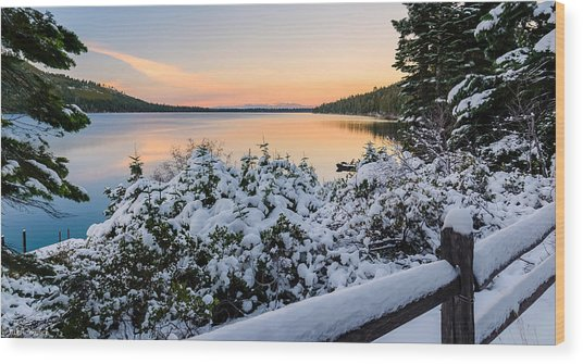 Fallen Leaf Lake Wood Print