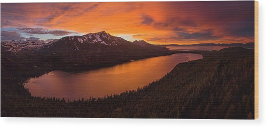 Fallen Leaf Lake Sunset Aerial By Brad Scott Wood Print