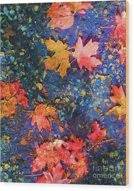 Falling Blue Leave Wood Print by Marilyn Sholin
