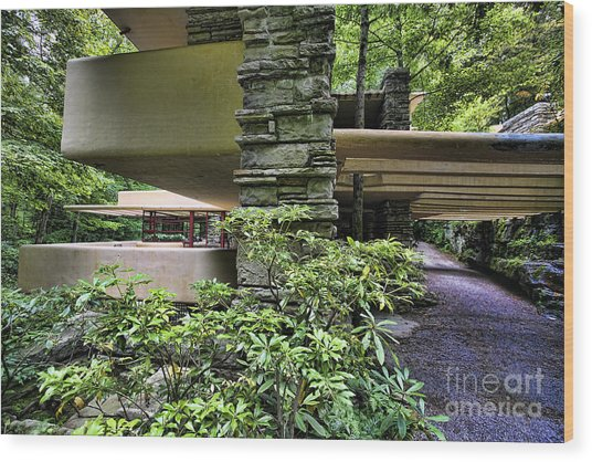 Falling Water Flw Frank Lloyd Wright  Wood Print