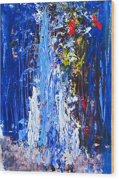 Falling Water Wood Print by Penfield Hondros