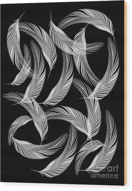 Falling White Feathers Wood Print