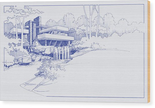 Fallingwater Blueprint Wood Print