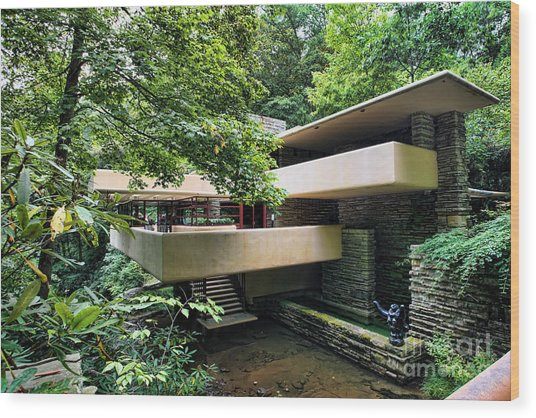 Fallingwater Frank Lloyd Wright Architect Wood Print