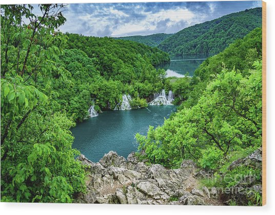 Falls From Above - Plitvice Lakes National Park, Croatia Wood Print