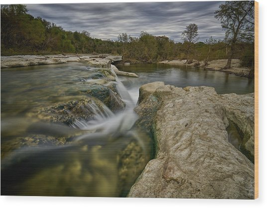 Texas Hill Country Falls Wood Print