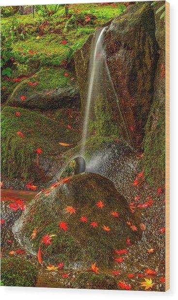Falls In Seattle Japanese Garden Wood Print