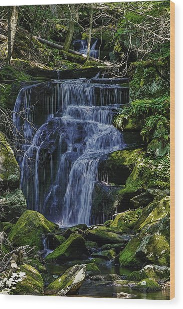 Falls In Vermont Mountain Stream  Wood Print