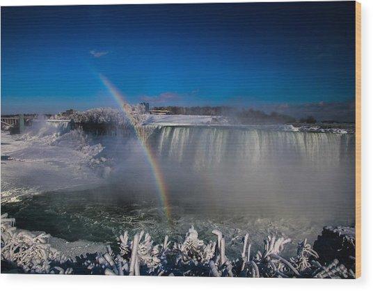 Falls Misty Rainbow  Wood Print