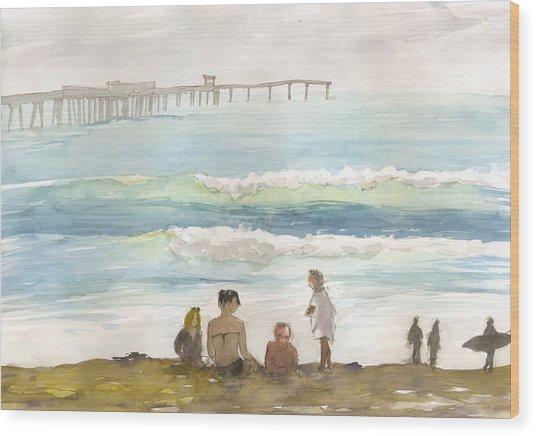 Family Enjoying The Beach Wood Print
