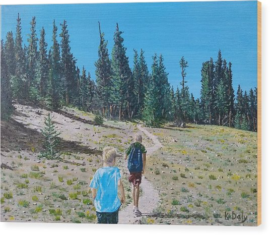 Family Hike Wood Print