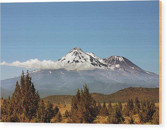 Family Portrait - Mount Shasta And Shastina Northern California Wood Print