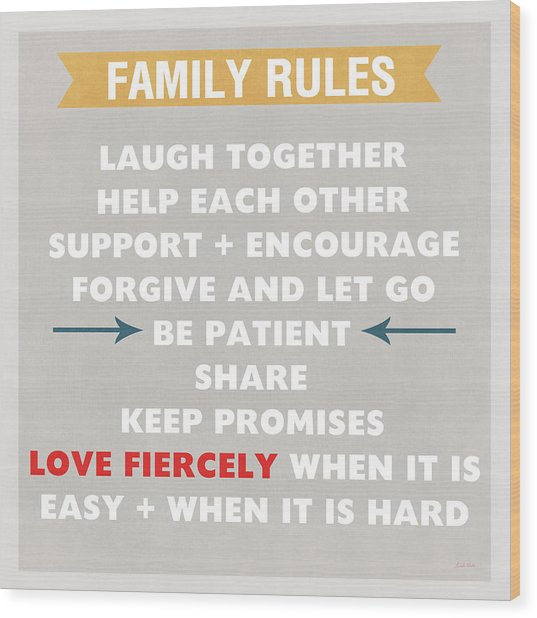 Family Rules Wood Print