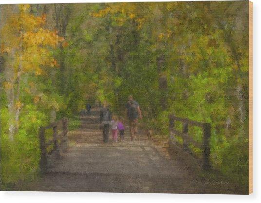 Family Walk At Borderland Wood Print