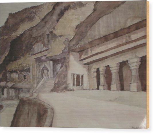 famous Ajantha Caves Wood Print by Bhalchandra Salunkhe