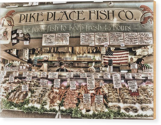 Famous Fish At Pike Place Market Wood Print