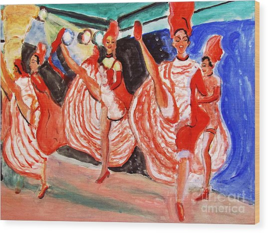 Famous French Cancan Wood Print