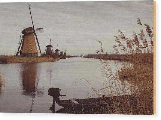 Famous Windmills At Kinderdijk, Netherlands Wood Print