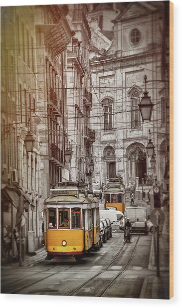 Famous Yellow Trams Of Lisbon Portugal  Wood Print