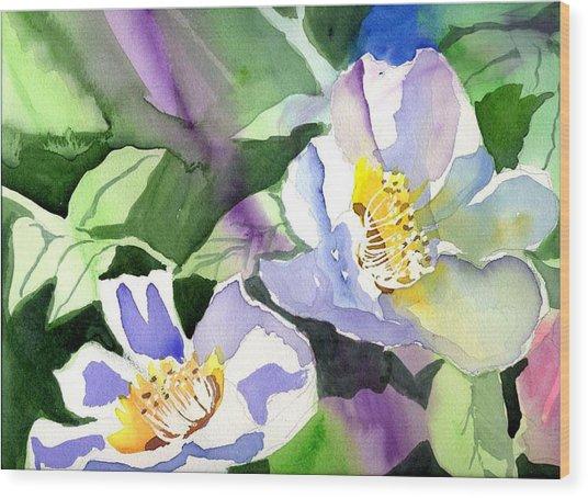 Fancy Flowers Wood Print by Janet Doggett