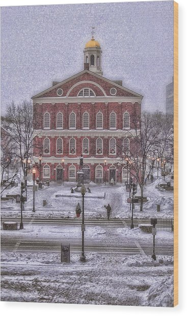 Faneuil Hall Snow Wood Print